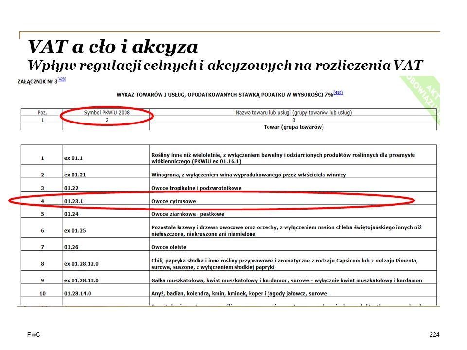 PwC224 VAT a cło i akcyza Wpływ regulacji celnych i akcyzowych na rozliczenia VAT