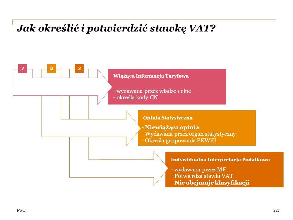 PwC Jak określić i potwierdzić stawkę VAT? aa 1 2 3 Wiążąca Informacja Taryfowa Opinia Statystyczna Indywidualna Interpretacja Podatkowa 227 - wydawan