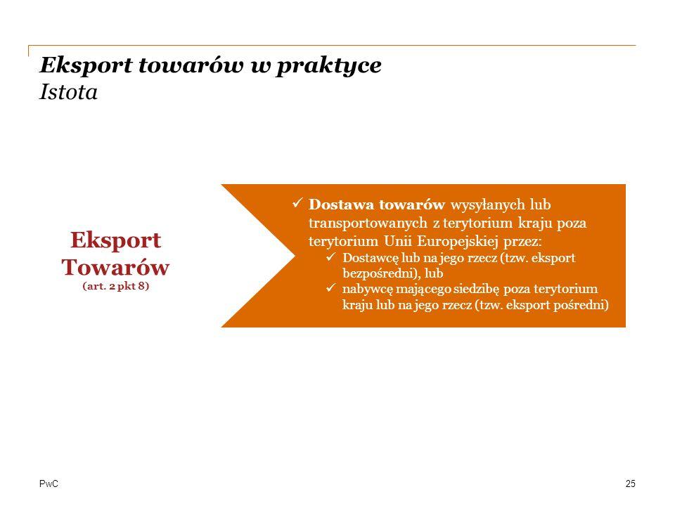 PwC Eksport towarów w praktyce Istota Dostawa towarów wysyłanych lub transportowanych z terytorium kraju poza terytorium Unii Europejskiej przez: Dost