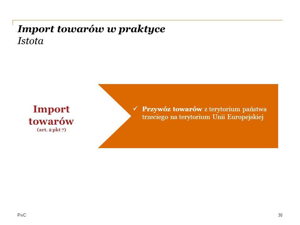 PwC Import towarów w praktyce Istota Przywóz towarów z terytorium państwa trzeciego na terytorium Unii Europejskiej Import towarów (art. 2 pkt 7) 30