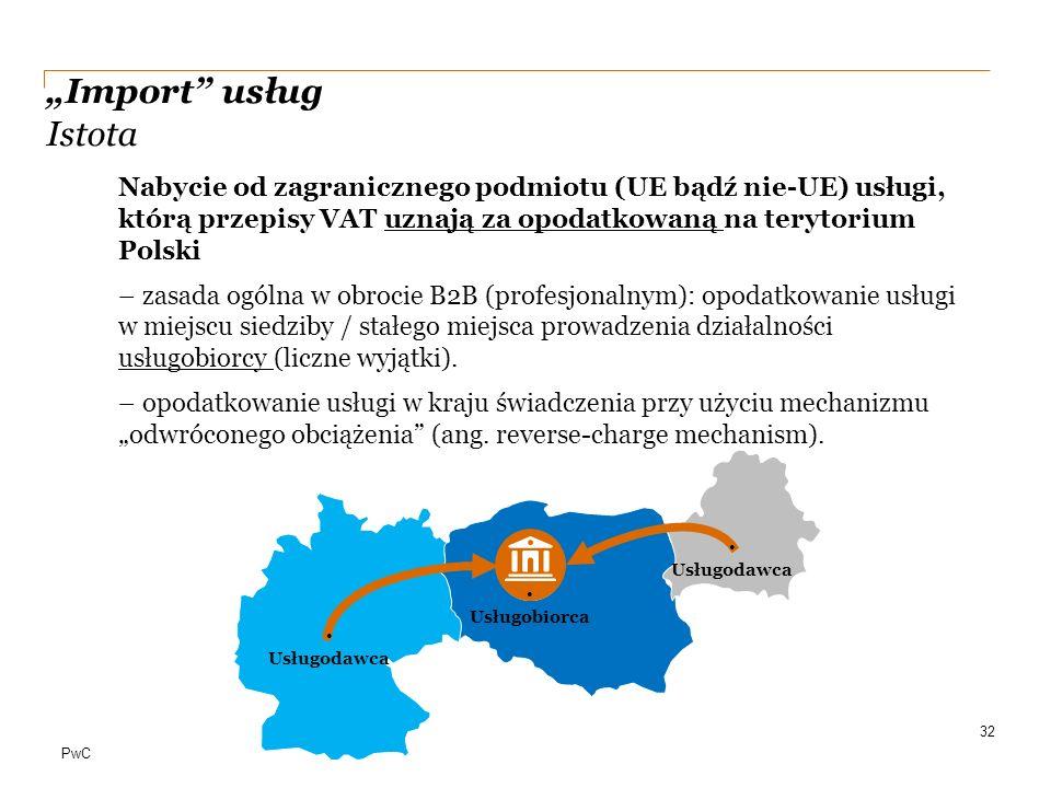 """PwC """"Import"""" usług Istota Nabycie od zagranicznego podmiotu (UE bądź nie-UE) usługi, którą przepisy VAT uznają za opodatkowaną na terytorium Polski –"""