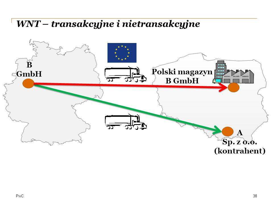 PwC WNT – transakcyjne i nietransakcyjne 38 A Sp. z o.o. (kontrahent) B GmbH Polski magazyn B GmbH