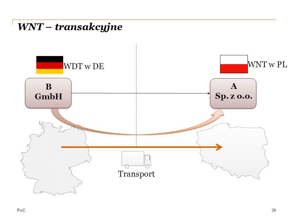 PwC A Sp. z o.o. B GmbH 39 WDT w DE Transport WNT – transakcyjne WNT w PL