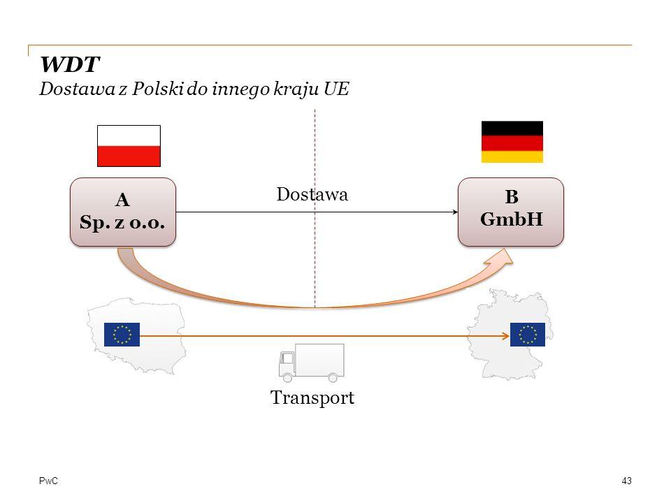 PwC WDT Dostawa z Polski do innego kraju UE A Sp. z o.o. B GmbH 43 Dostawa Transport