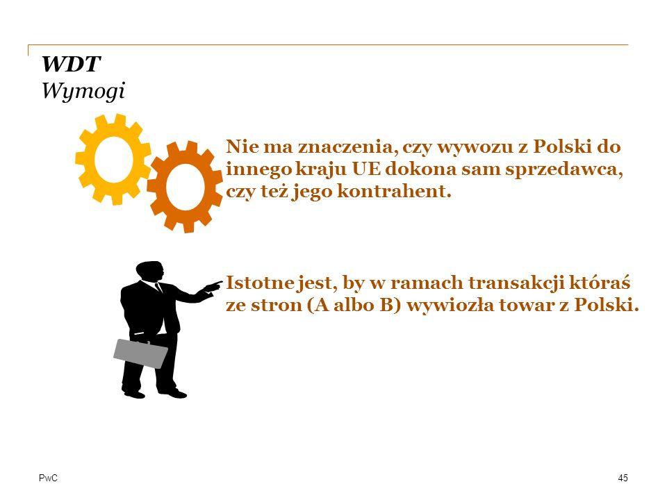 PwC WDT Wymogi Nie ma znaczenia, czy wywozu z Polski do innego kraju UE dokona sam sprzedawca, czy też jego kontrahent. Istotne jest, by w ramach tran