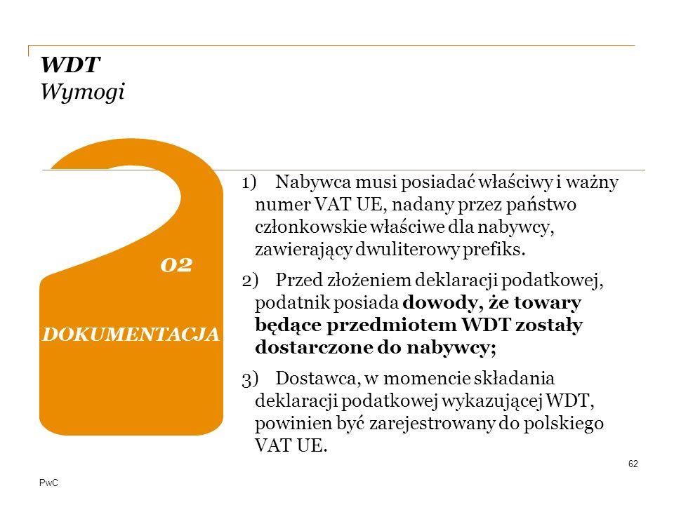 PwC WDT Wymogi 62 PODMIOTOWE 01 0202 04 DOKUMENTACJA 1)Nabywca musi posiadać właściwy i ważny numer VAT UE, nadany przez państwo członkowskie właściwe