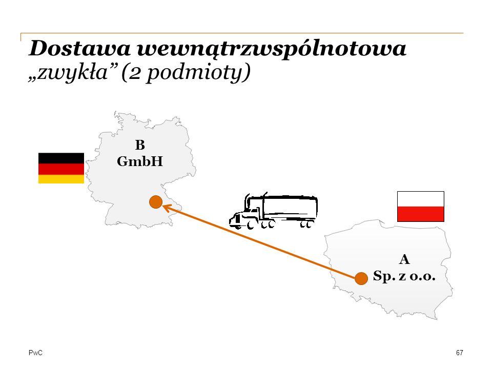 """PwC Dostawa wewnątrzwspólnotowa """"zwykła"""" (2 podmioty) 67 A Sp. z o.o. B GmbH"""