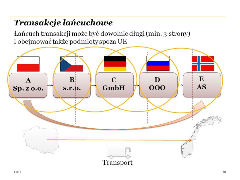 PwC Transakcje łańcuchowe Łańcuch transakcji może być dowolnie długi (min. 3 strony) i obejmować także podmioty spoza UE A Sp. z o.o. C GmbH B s.r.o.