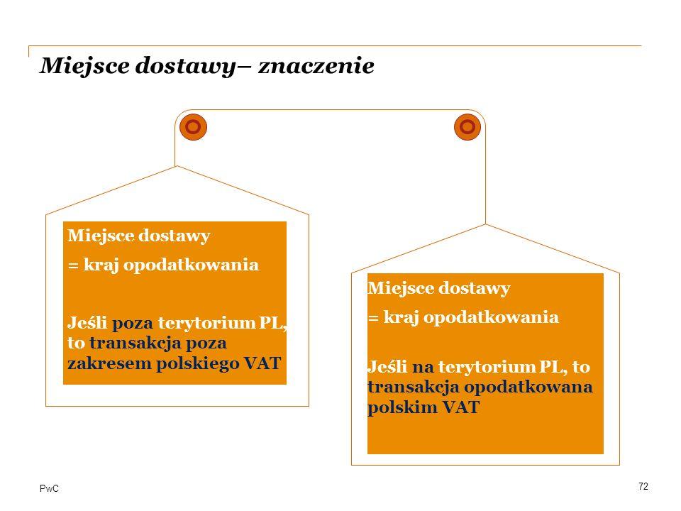 PwC Miejsce dostawy– znaczenie a 72 Miejsce dostawy = kraj opodatkowania Jeśli poza terytorium PL, to transakcja poza zakresem polskiego VAT Miejsce d