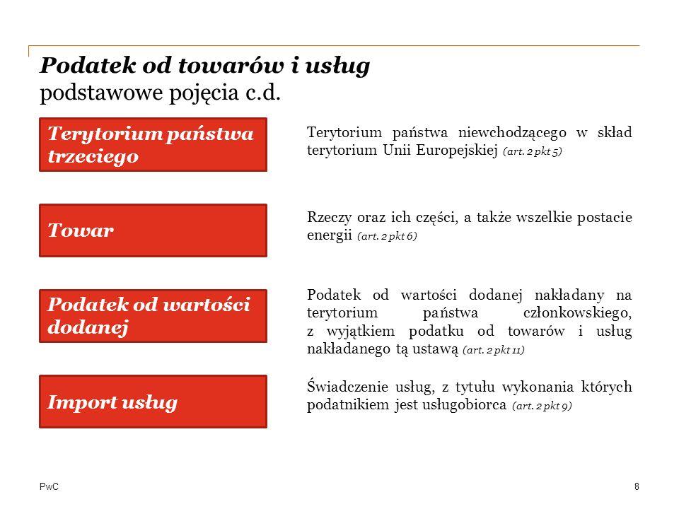 PwC Podatek od towarów i usług podstawowe pojęcia c.d. Terytorium państwa trzeciego Terytorium państwa niewchodzącego w skład terytorium Unii Europejs