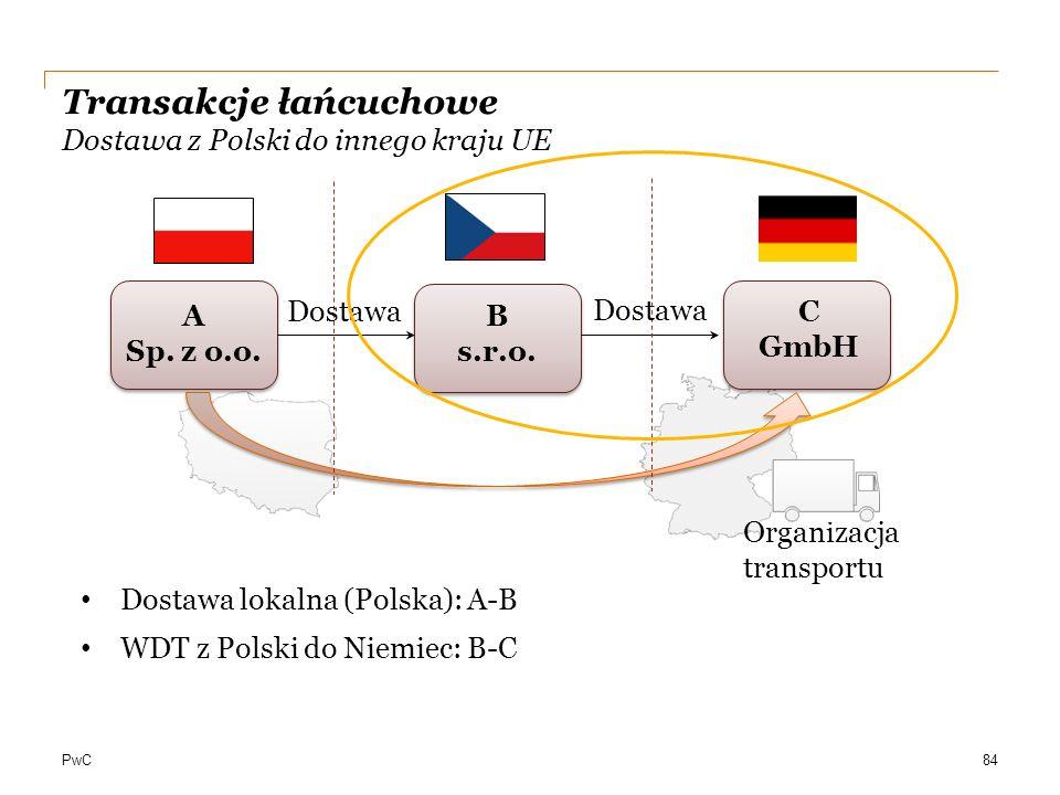 PwC Transakcje łańcuchowe Dostawa z Polski do innego kraju UE A Sp. z o.o. C GmbH B s.r.o. 84 Dostawa Organizacja transportu Dostawa lokalna (Polska):
