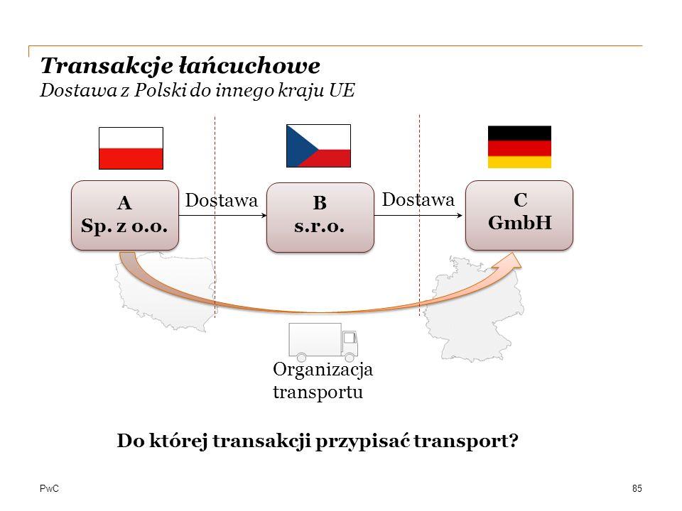 PwC Transakcje łańcuchowe Dostawa z Polski do innego kraju UE A Sp. z o.o. C GmbH B s.r.o. 85 Dostawa Organizacja transportu Do której transakcji przy
