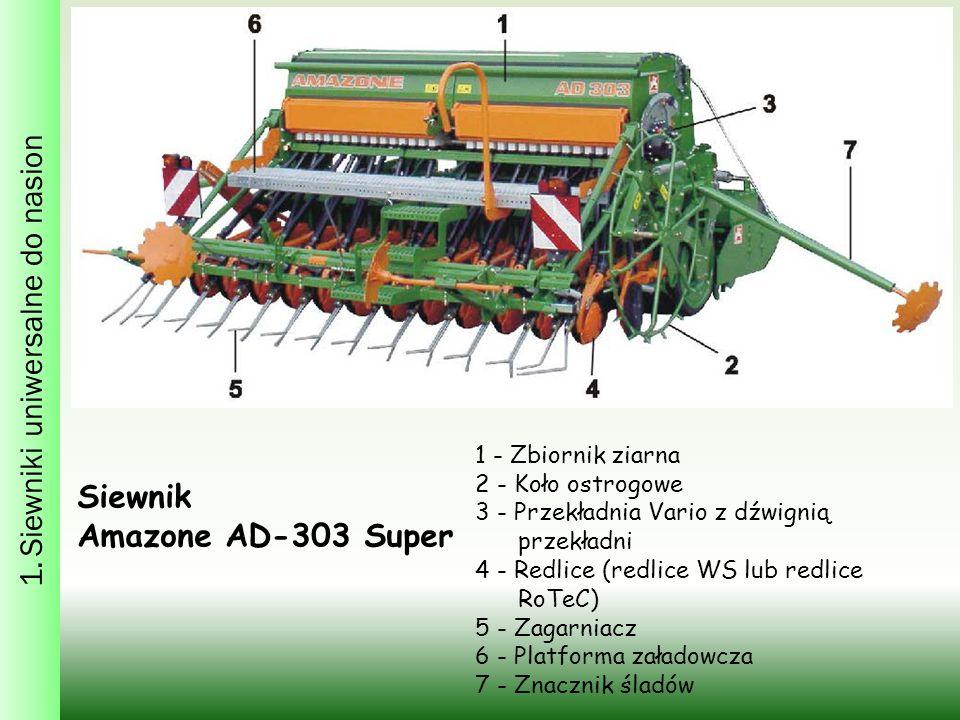 1. Siewniki uniwersalne do nasion 1 - Zbiornik ziarna 2 - Koło ostrogowe 3 - Przekładnia Vario z dźwignią przekładni 4 - Redlice (redlice WS lub redli