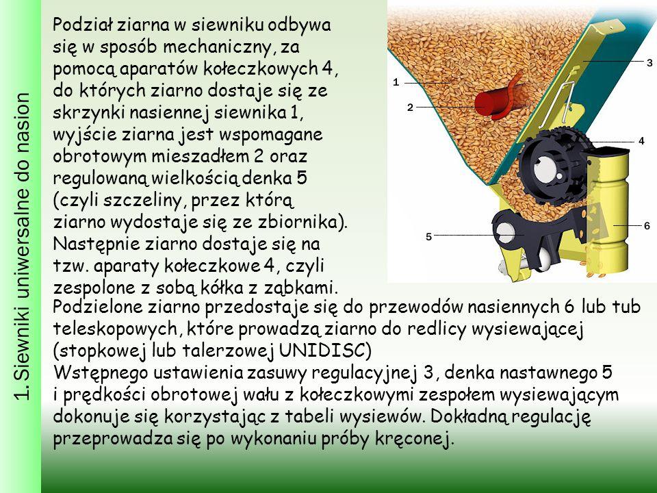 1. Siewniki uniwersalne do nasion Podział ziarna w siewniku odbywa się w sposób mechaniczny, za pomocą aparatów kołeczkowych 4, do których ziarno dost