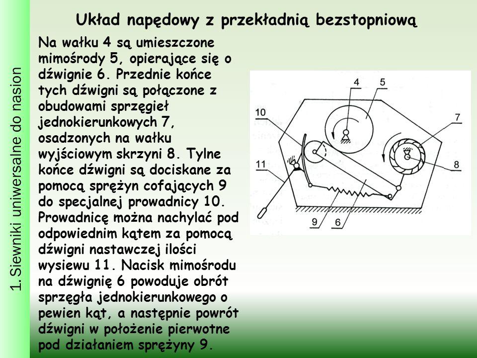 1. Siewniki uniwersalne do nasion Na wałku 4 są umieszczone mimośrody 5, opierające się o dźwignie 6. Przednie końce tych dźwigni są połączone z obudo