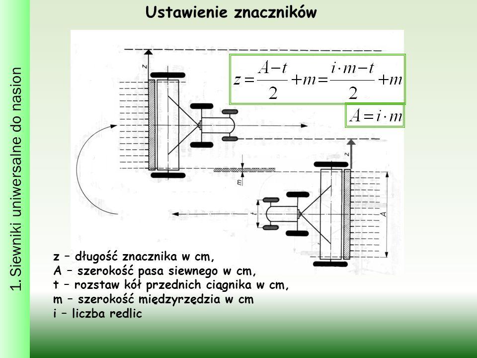 1. Siewniki uniwersalne do nasion Ustawienie znaczników z – długość znacznika w cm, A – szerokość pasa siewnego w cm, t – rozstaw kół przednich ciągni