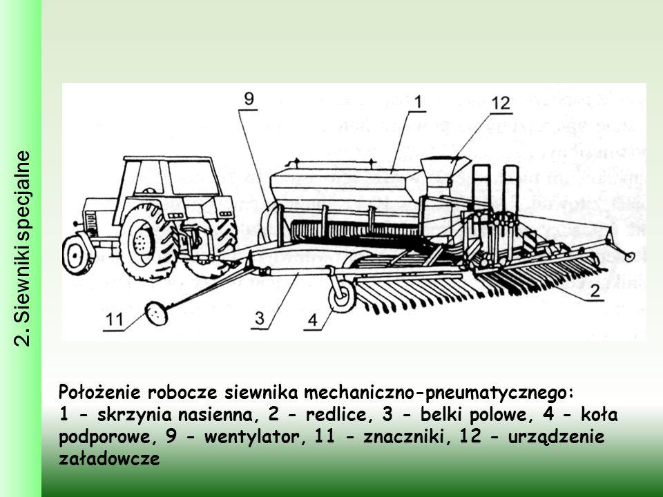 2. Siewniki specjalne Położenie robocze siewnika mechaniczno-pneumatycznego: 1 - skrzynia nasienna, 2 - redlice, 3 - belki polowe, 4 - koła podporowe,