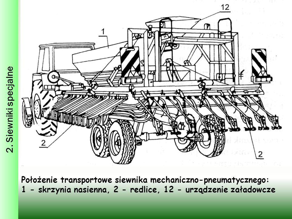 2. Siewniki specjalne Położenie transportowe siewnika mechaniczno-pneumatycznego: 1 - skrzynia nasienna, 2 - redlice, 12 - urządzenie załadowcze