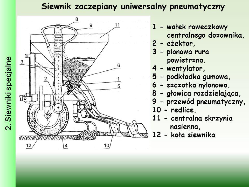 Siewnik zaczepiany uniwersalny pneumatyczny 1 - wałek roweczkowy centralnego dozownika, 2 - eżektor, 3 - pionowa rura powietrzna, 4 - wentylator, 5 -
