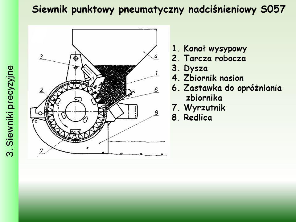 Siewnik punktowy pneumatyczny nadciśnieniowy S057 1. Kanał wysypowy 2. Tarcza robocza 3. Dysza 4. Zbiornik nasion 6. Zastawka do opróżniania zbiornika