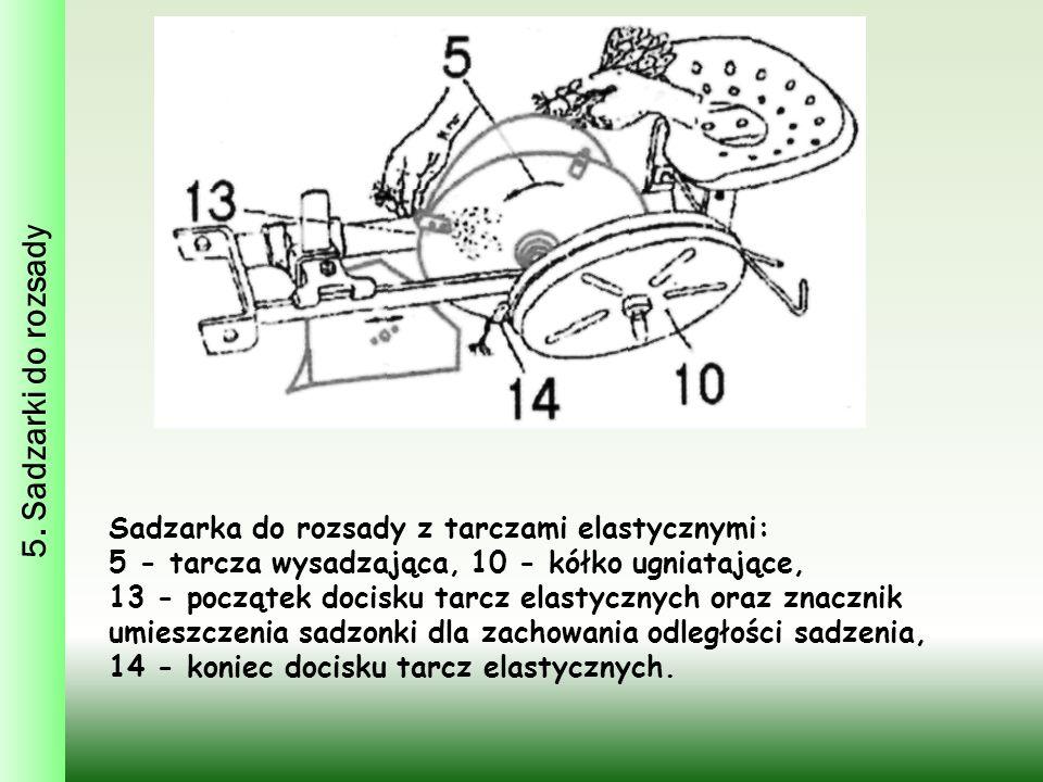 5. Sadzarki do rozsady Sadzarka do rozsady z tarczami elastycznymi: 5 - tarcza wysadzająca, 10 - kółko ugniatające, 13 - początek docisku tarcz elasty