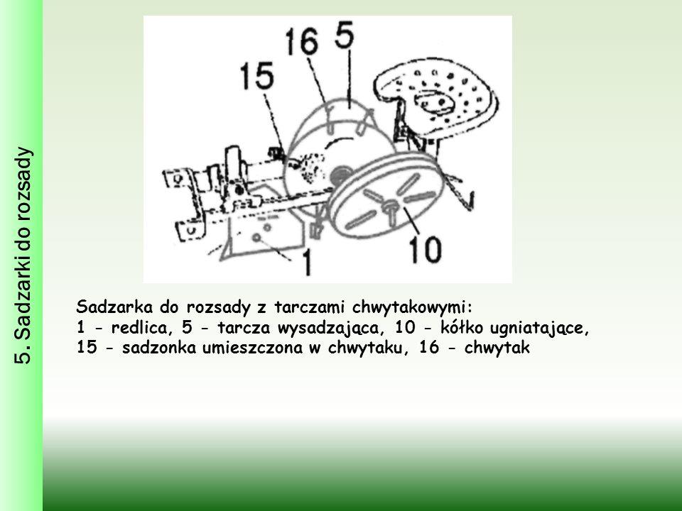 5. Sadzarki do rozsady Sadzarka do rozsady z tarczami chwytakowymi: 1 - redlica, 5 - tarcza wysadzająca, 10 - kółko ugniatające, 15 - sadzonka umieszc
