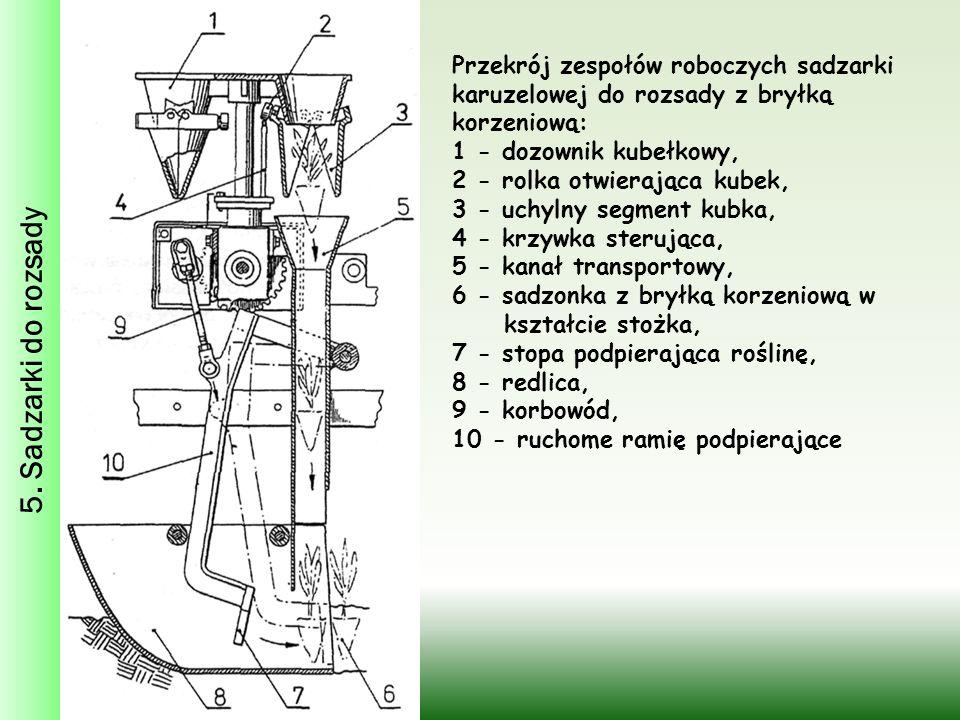 5. Sadzarki do rozsady Przekrój zespołów roboczych sadzarki karuzelowej do rozsady z bryłką korzeniową: 1 - dozownik kubełkowy, 2 - rolka otwierająca