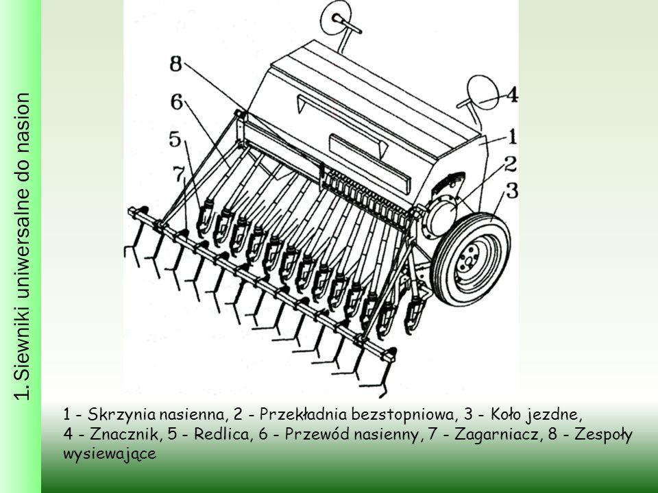 1. Siewniki uniwersalne do nasion 1 - Skrzynia nasienna, 2 - Przekładnia bezstopniowa, 3 - Koło jezdne, 4 - Znacznik, 5 - Redlica, 6 - Przewód nasienn