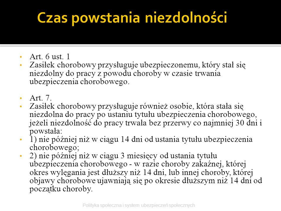 Art. 6 ust. 1 Zasiłek chorobowy przysługuje ubezpieczonemu, który stał się niezdolny do pracy z powodu choroby w czasie trwania ubezpieczenia chorobow