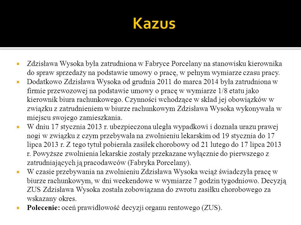  Zdzisława Wysoka była zatrudniona w Fabryce Porcelany na stanowisku kierownika do spraw sprzedaży na podstawie umowy o pracę, w pełnym wymiarze czas