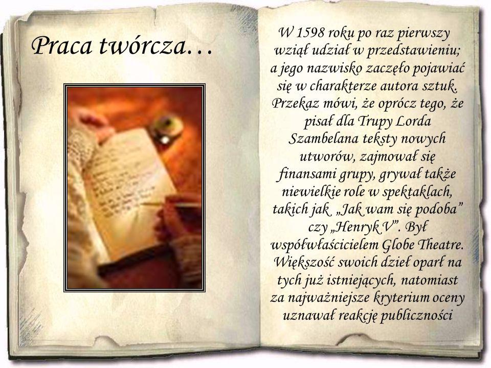 Praca twórcza… W 1598 roku po raz pierwszy wziął udział w przedstawieniu; a jego nazwisko zaczęło pojawiać się w charakterze autora sztuk. Przekaz mów