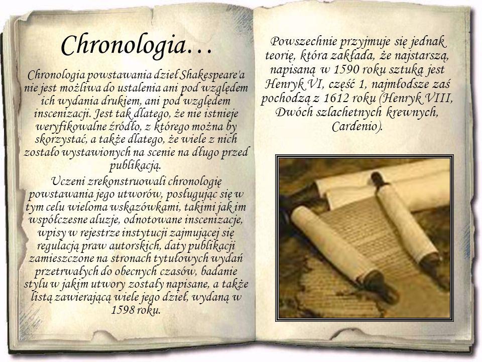 Chronologia… Chronologia powstawania dzieł Shakespeare a nie jest możliwa do ustalenia ani pod względem ich wydania drukiem, ani pod względem inscenizacji.