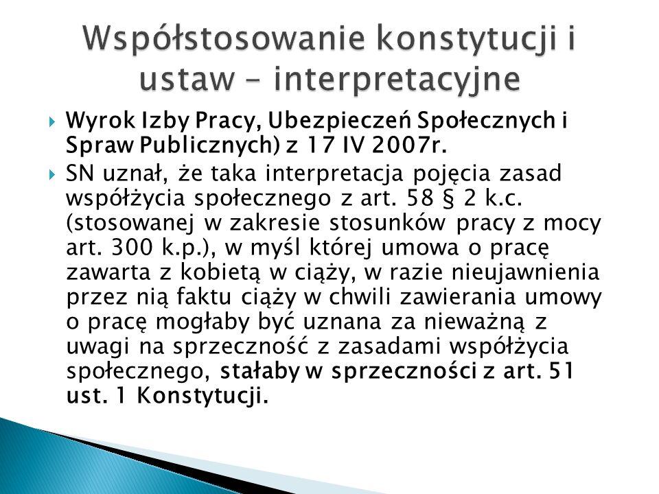  Wyrok Izby Pracy, Ubezpieczeń Społecznych i Spraw Publicznych) z 17 IV 2007r.
