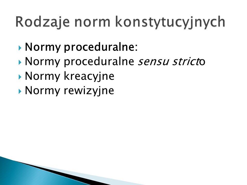  Normy proceduralne:  Normy proceduralne sensu stricto  Normy kreacyjne  Normy rewizyjne