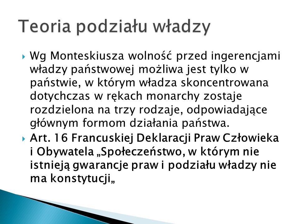  Wg Monteskiusza wolność przed ingerencjami władzy państwowej możliwa jest tylko w państwie, w którym władza skoncentrowana dotychczas w rękach monarchy zostaje rozdzielona na trzy rodzaje, odpowiadające głównym formom działania państwa.