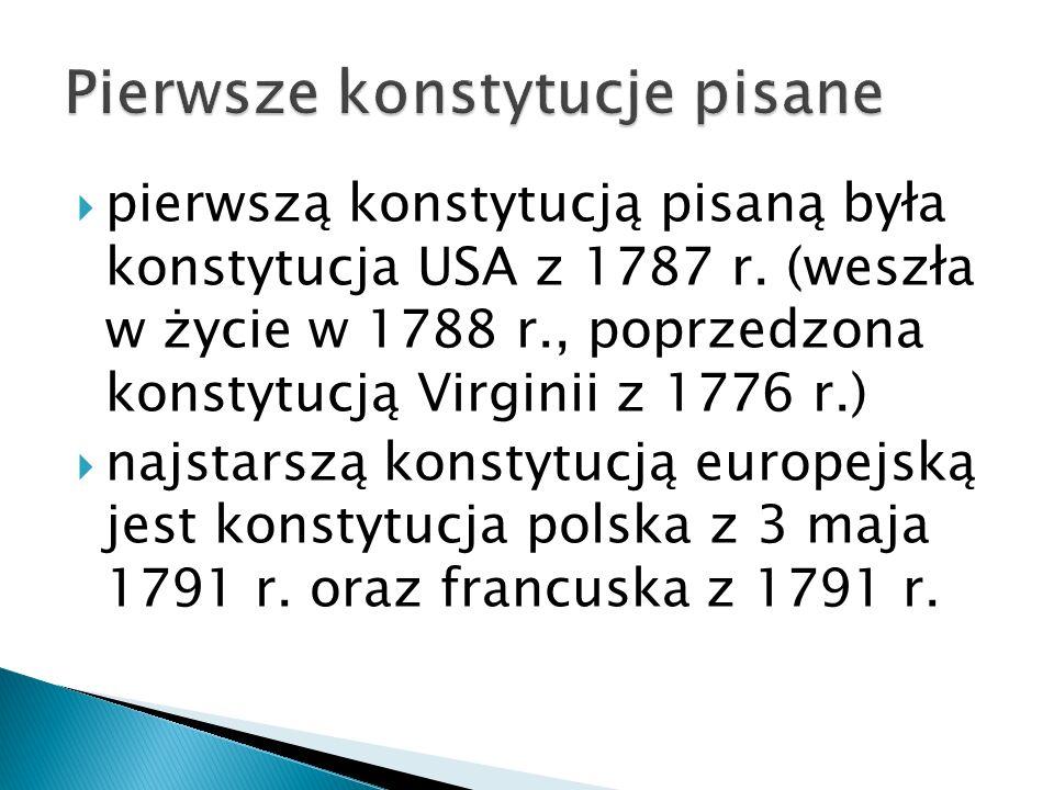  pierwszą konstytucją pisaną była konstytucja USA z 1787 r.