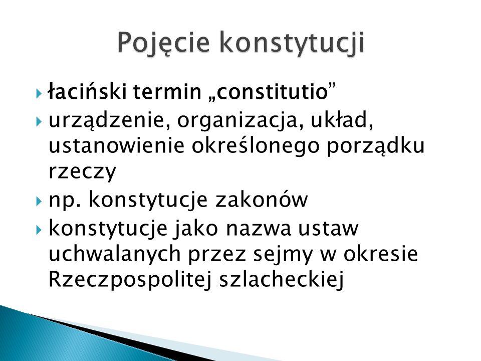 Dwa znaczenia terminu konstytucja:  akt prawa pisanego – ustawa zasadnicza państwa;  synonim ustroju politycznego.