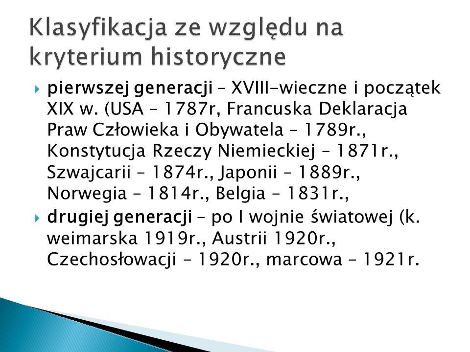 pierwszej generacji – XVIII-wieczne i początek XIX w.