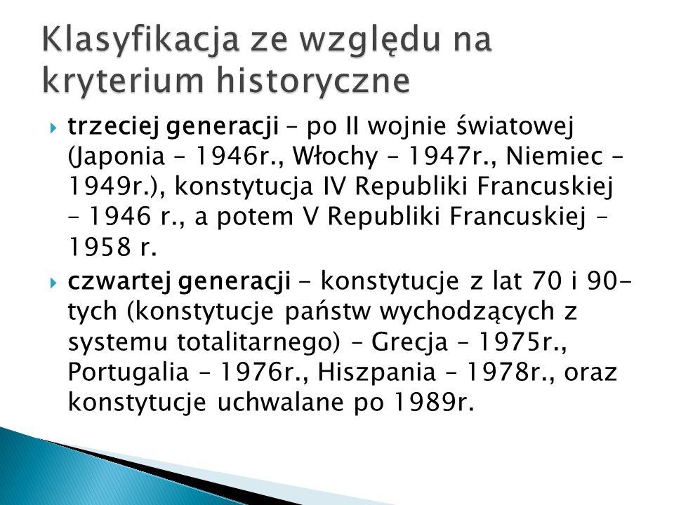  trzeciej generacji – po II wojnie światowej (Japonia – 1946r., Włochy – 1947r., Niemiec – 1949r.), konstytucja IV Republiki Francuskiej – 1946 r., a potem V Republiki Francuskiej – 1958 r.
