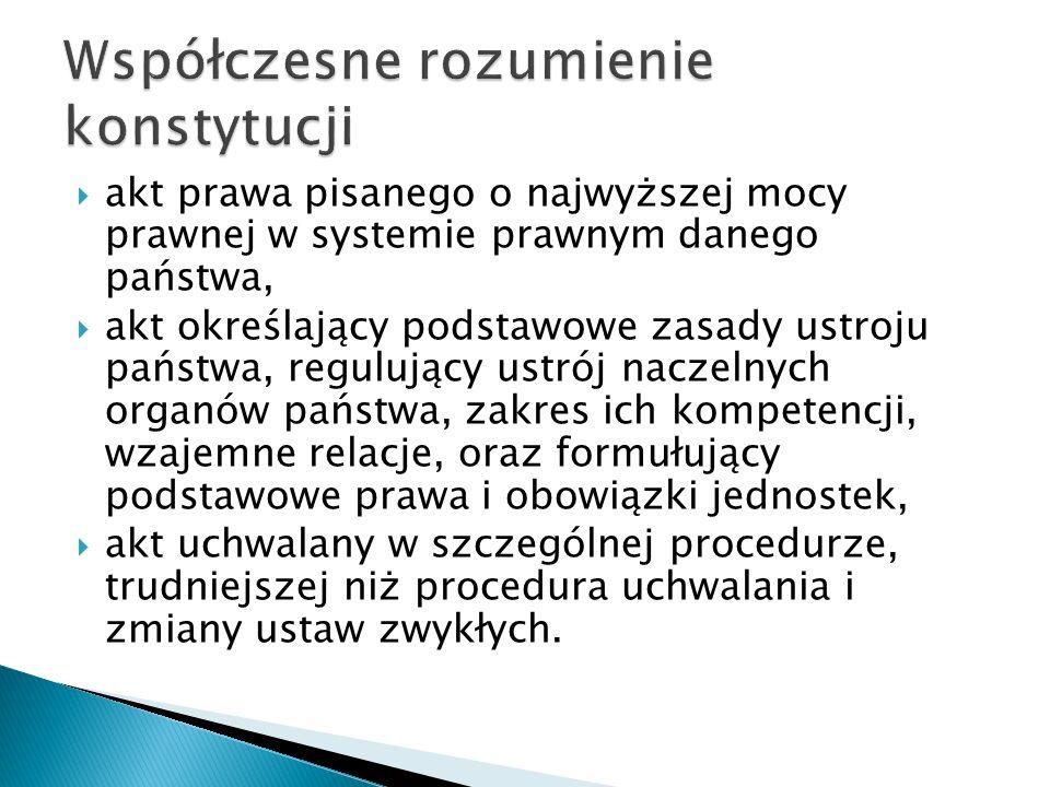  akt prawa pisanego o najwyższej mocy prawnej w systemie prawnym danego państwa,  akt określający podstawowe zasady ustroju państwa, regulujący ustrój naczelnych organów państwa, zakres ich kompetencji, wzajemne relacje, oraz formułujący podstawowe prawa i obowiązki jednostek,  akt uchwalany w szczególnej procedurze, trudniejszej niż procedura uchwalania i zmiany ustaw zwykłych.