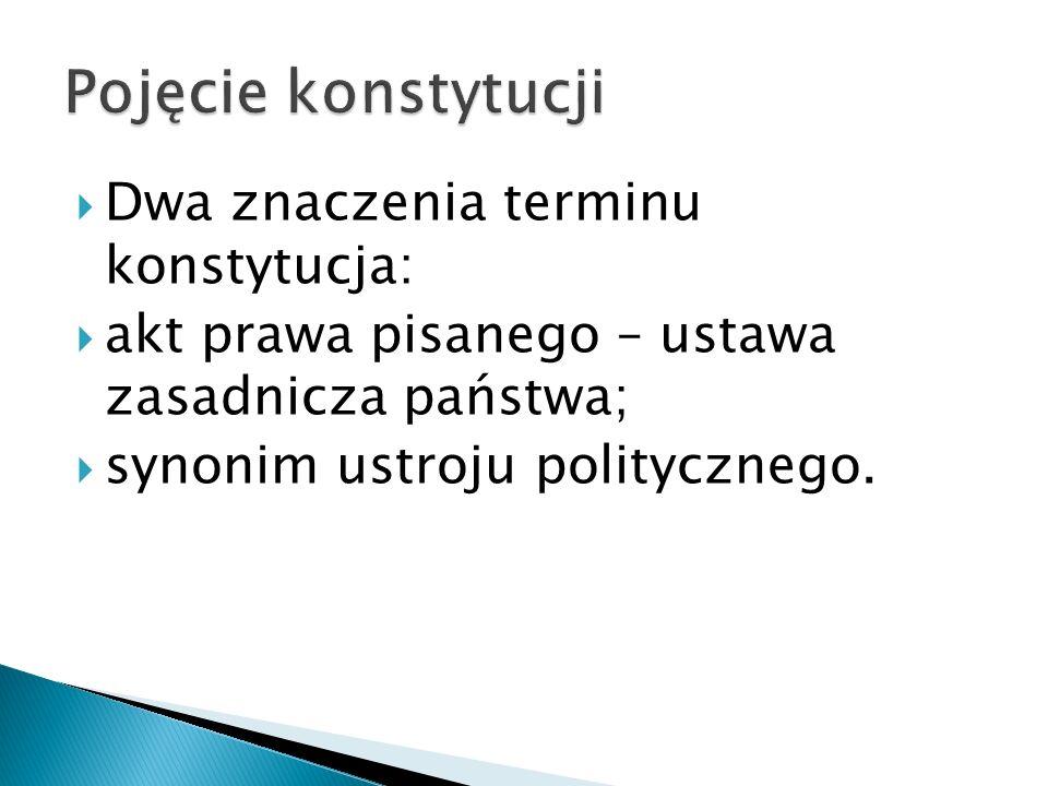  normy prawne (również prawa zwyczajowego) dotyczące zasad ustroju państwa, organizacji i funkcjonowania państwa oraz określające status jednostki w państwie,  takie ujęcie pokrywa się z pojęciem prawa konstytucyjnego,  obejmuje też praktykę stosowania konstytucji, zwyczaje ustrojowe oraz orzecznictwo konstytucyjne  przykład tak rozumianej konstytucji – Wlk.