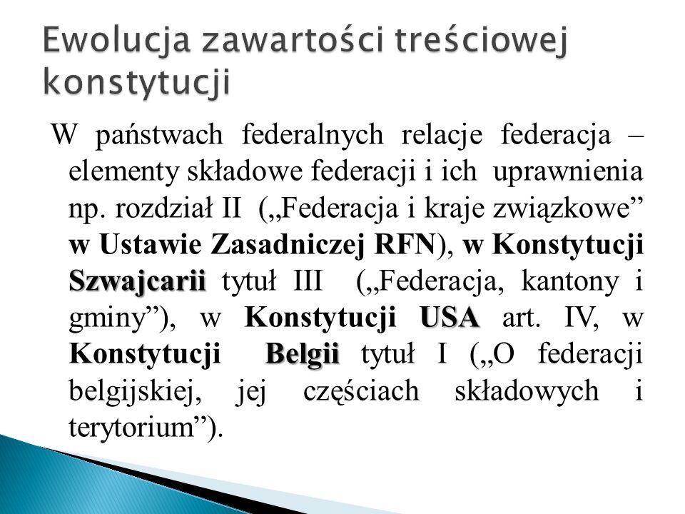 Szwajcarii USA Belgii W państwach federalnych relacje federacja – elementy składowe federacji i ich uprawnienia np.