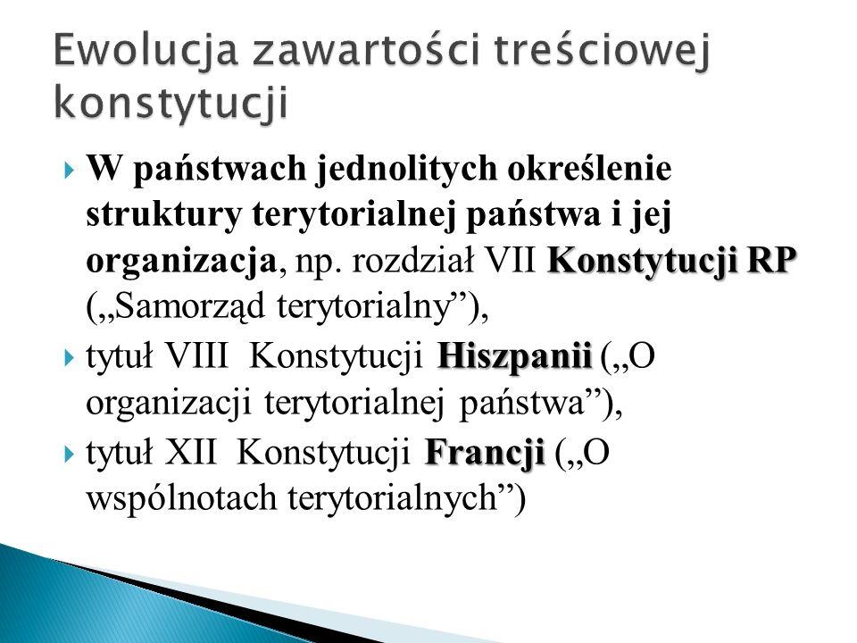 Konstytucji RP  W państwach jednolitych określenie struktury terytorialnej państwa i jej organizacja, np.