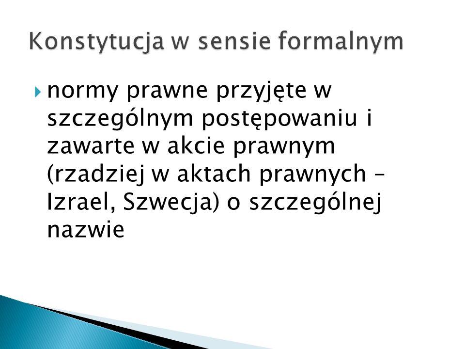  zakaz wydawania aktów sprzecznych – aspekt negatywny  nakaz rozwijania postanowień Konstytucji – aspekt pozytywny  zakaz zmiany konstytucji w takim samym trybie jak ustaw zwykłych, a więc wymóg zapewnienia konstytucji odpowiedniej sztywności, a w konsekwencji trwałości (stabilności)  wykluczona zmiana konstytucji w celu jej dostosowania do regulacji ustawowej, inna kwestia prawo UE (ENA, euro)