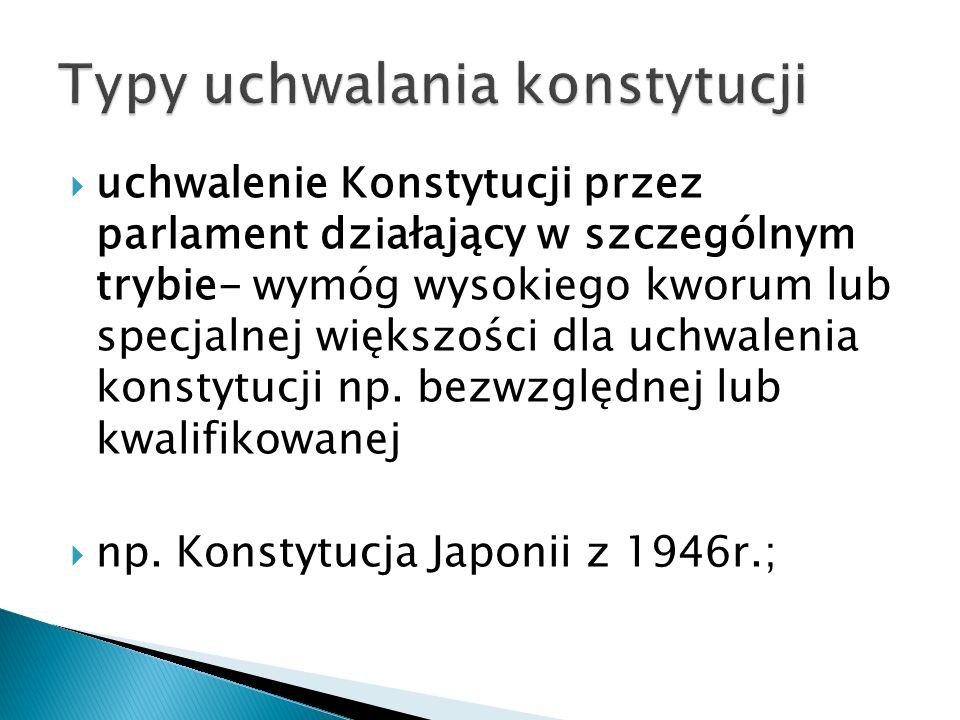  uchwalenie Konstytucji przez parlament działający w szczególnym trybie- wymóg wysokiego kworum lub specjalnej większości dla uchwalenia konstytucji np.
