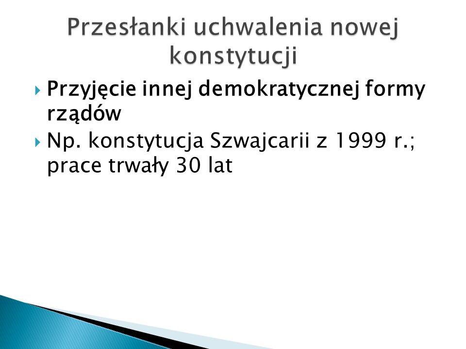  Przyjęcie innej demokratycznej formy rządów  Np.