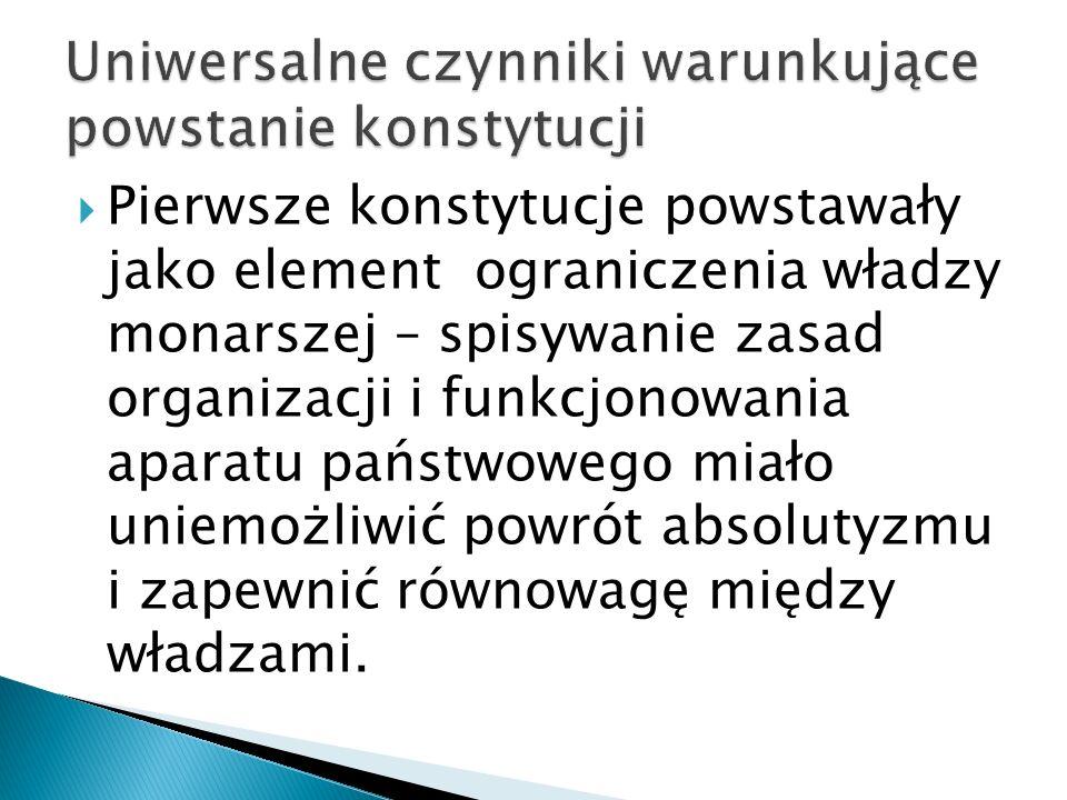  Pierwsze konstytucje powstawały jako element ograniczenia władzy monarszej – spisywanie zasad organizacji i funkcjonowania aparatu państwowego miało uniemożliwić powrót absolutyzmu i zapewnić równowagę między władzami.