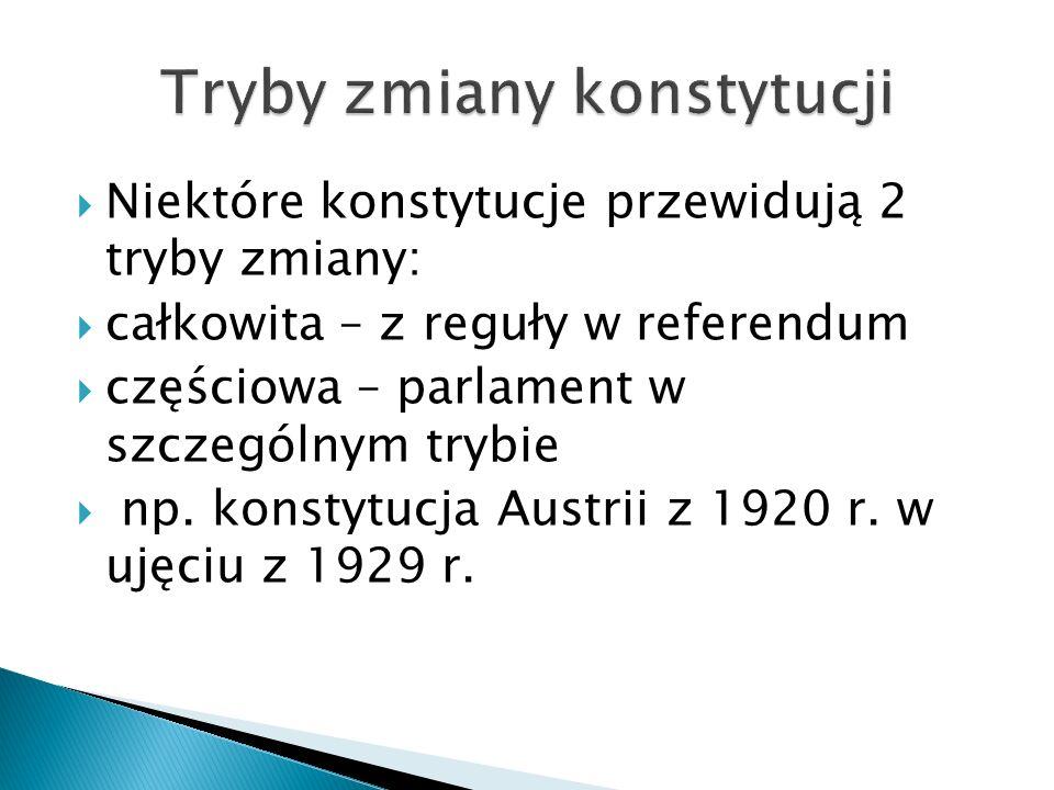  Niektóre konstytucje przewidują 2 tryby zmiany:  całkowita – z reguły w referendum  częściowa – parlament w szczególnym trybie  np.
