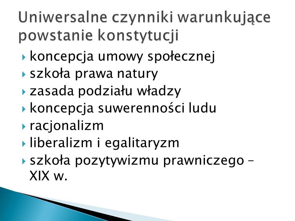  Zasady ustroju to normy prawne zawarte w Konstytucji, których szczególna doniosłość wyraża się w tym, że:  z norm tych wynikają inne normy konstytucyjne  określają one cechy danej instytucji,  wyrażają podstawowe wartości konstytucyjne, stanowiące podstawy aksjologiczne Konstytucji,  za takie uznawane są w doktrynie i orzecznictwie,