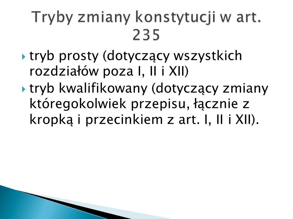  tryb prosty (dotyczący wszystkich rozdziałów poza I, II i XII)  tryb kwalifikowany (dotyczący zmiany któregokolwiek przepisu, łącznie z kropką i przecinkiem z art.